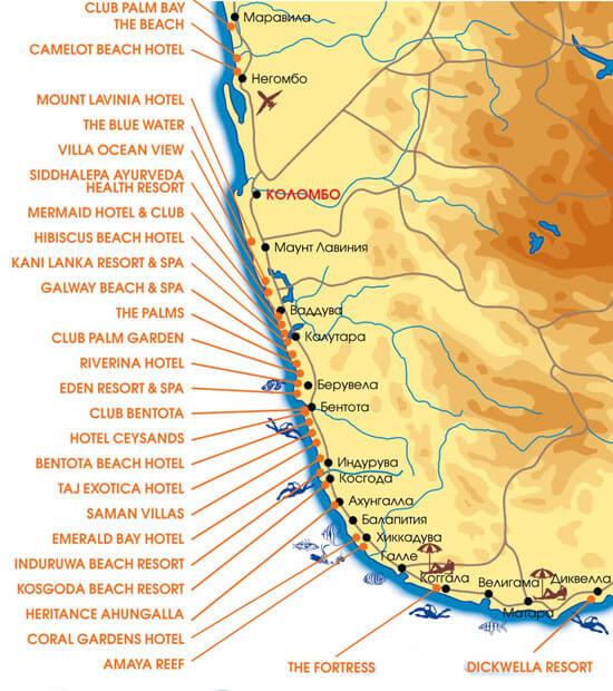 Отельная карта Шри-Ланки
