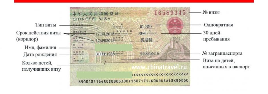 Оформить визу в Китай, как читать визу в китай