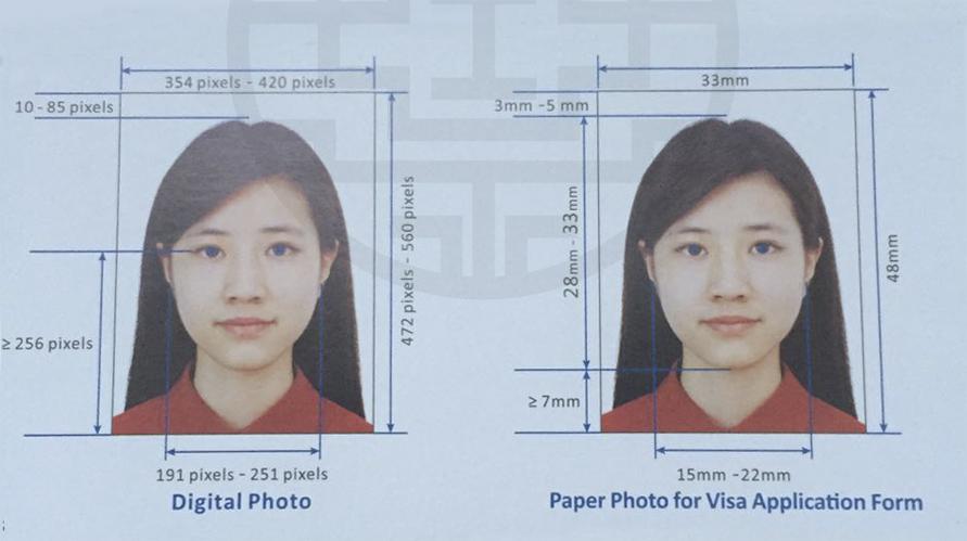 размер фото на визу в китай